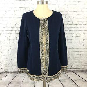 Chico's size 1 open fringe cardigan sweater jacket